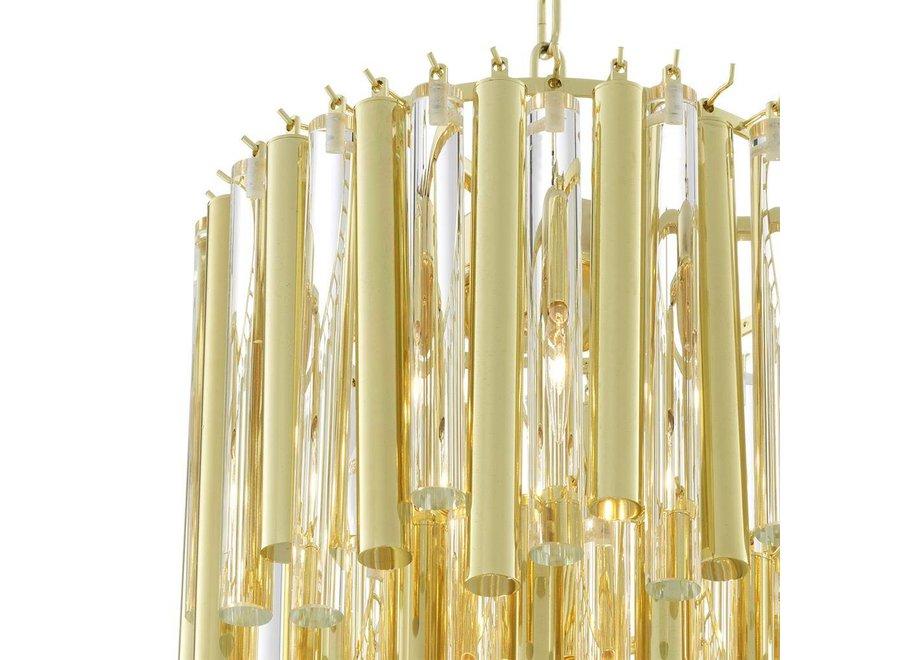 Chandelier Gigi S gouden 'finish heeft een diameter van ø 35 x H. 68 cm