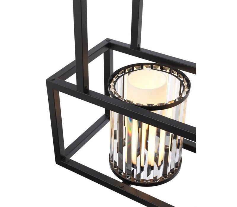Chandelier 'Carducci' zwart heeft een afmeting van 120 x 32 x H. 98 cm