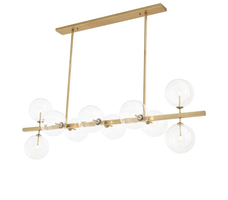 Chandelier 'Largo' is 160 cm wide and has an antique brass finishing