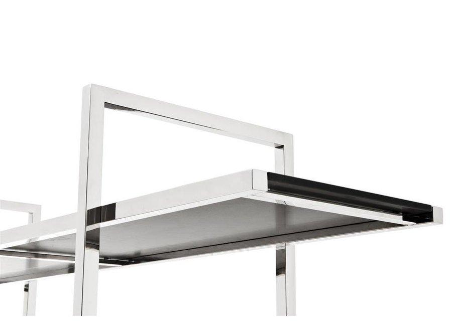 Cabinet 'Soto' is 180cm hoog en gemaakt van hoogglans RVS