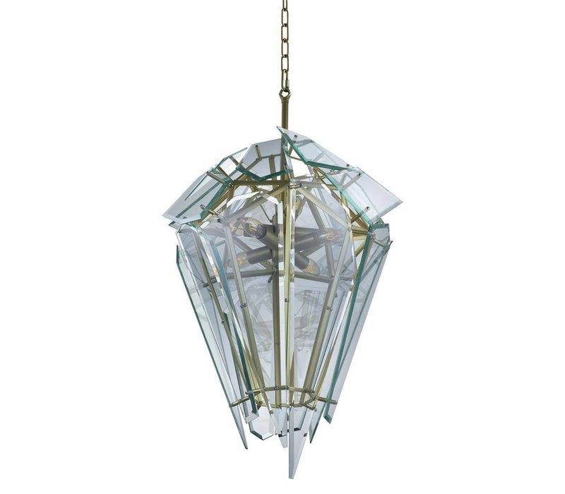 Hanglamp 'Chandelier Shard gold' van het Nederlandse merk Eichholtz, maat ø 47 x H. 97 cm
