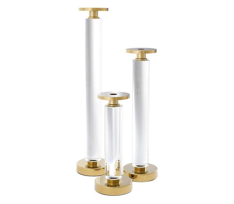 'Chapman Gold' set of 3 candlesticks