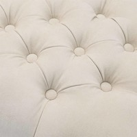 Large footstool 'Benedict' Ecru Velvet 160 cm