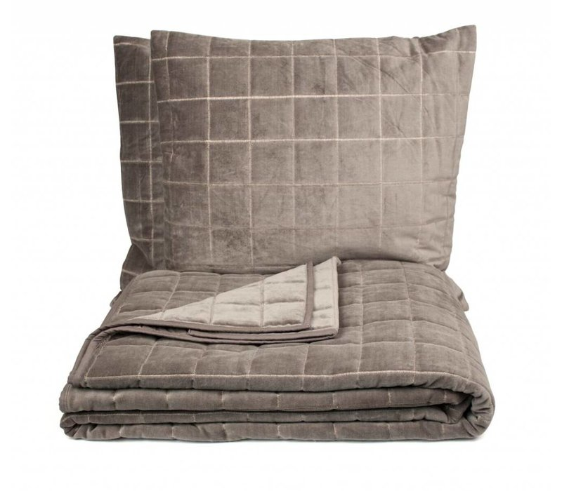 Bedcover set + 2 cushions 'Sham' color grey