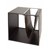 Magazine rack black with brown leather