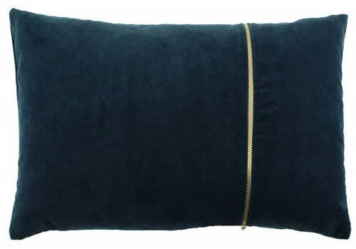CLAUDI Cushion Rosana Petrol + gold zipper