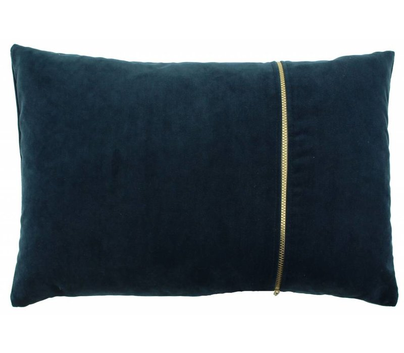 Cushion Rosana in color Petrol with gold zipper