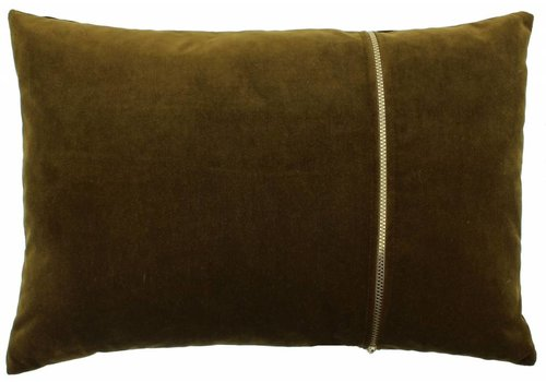 CLAUDI Cushion Rosana Bronze + gold zipper
