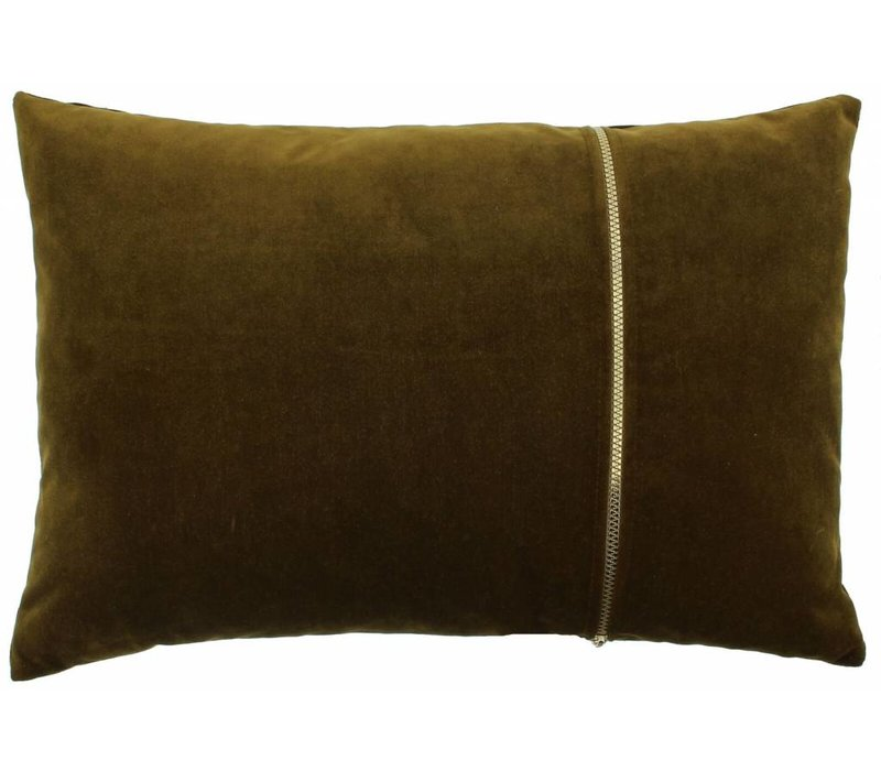 Dekokissen Rosana in der Farbe Bronze mit goldfarbenem Reißverschluss