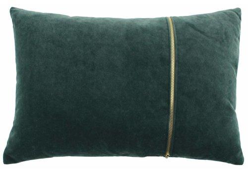 CLAUDI Kissen Rosana Dark Mint + gold zipper