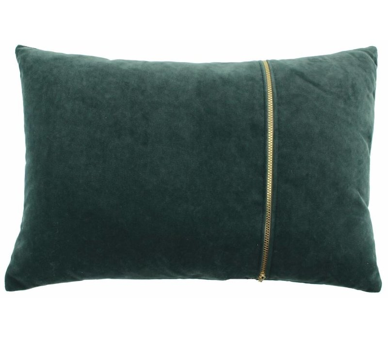 Cushion Rosana in color Dark Mint with gold zipper