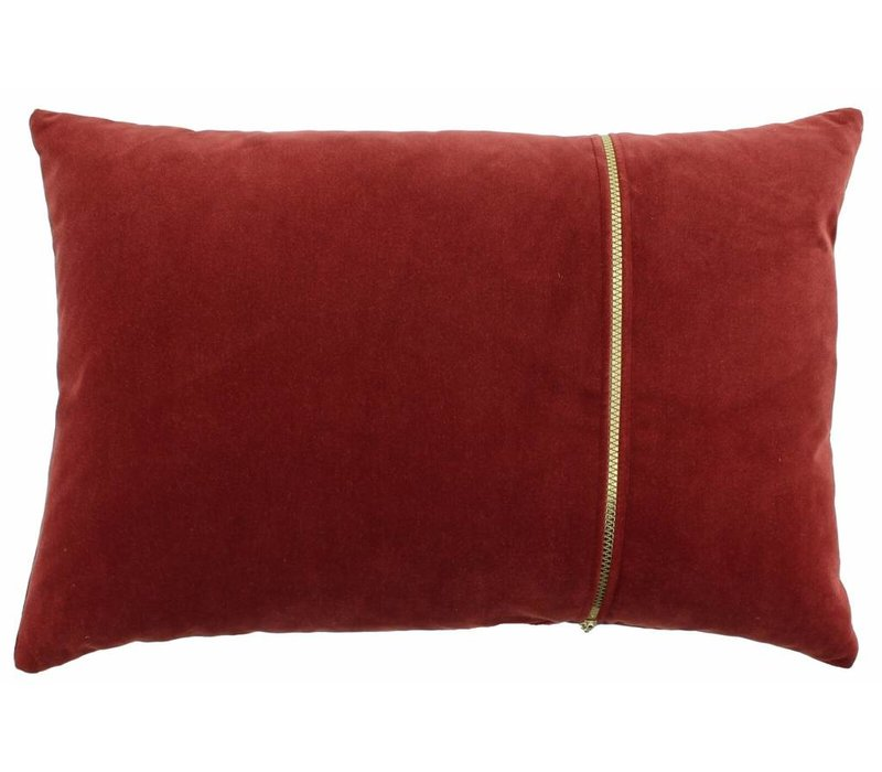 Cushion Rosana in color Marsala with gold zippe
