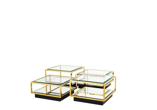 EICHHOLTZ 'Tortona' set of 4 Gold coffee tables