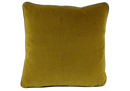 CLAUDI Design Kussen Saffi Mustard + piping Black