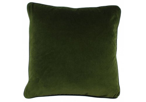 CLAUDI Cushion Saffi Olive + piping Black