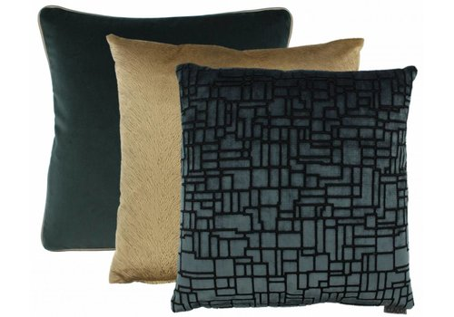 CLAUDI Cushion combination Petrol/Camel : Stansie, Perla, Saffi