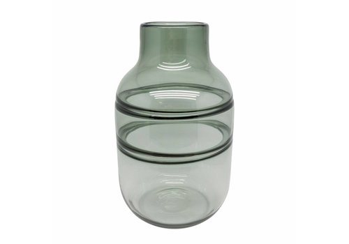 Dome Deco Vase glass 'Grey' with lines