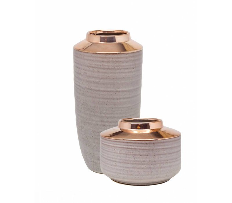 Vases ceramics set of 2 'Rose Gold'