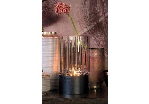 Dome Deco Kerzenständer graues Glas und schwarzer Holzfuß - S