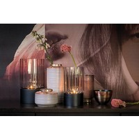 Tealight 'grey' glass with black wooden base - S