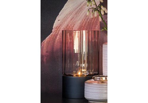 Dome Deco Tealight 'grey' glass with black wooden base - M