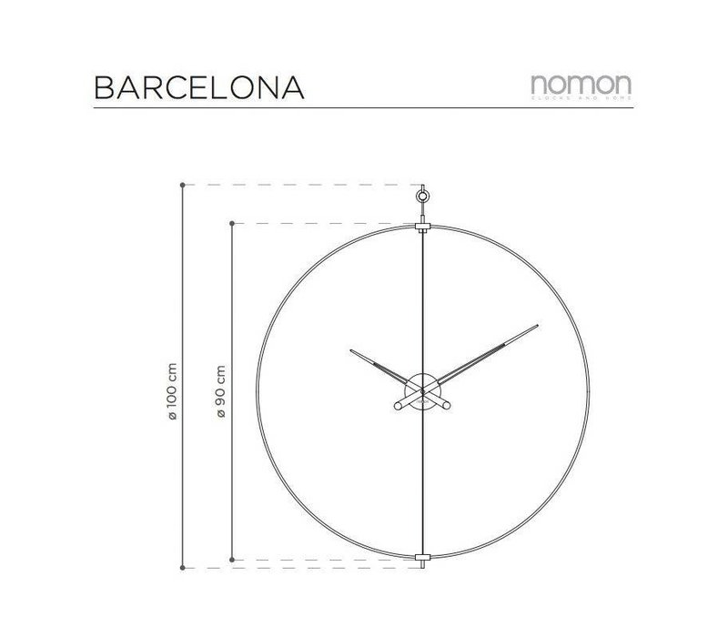 Grote Wandklok 'Barcelona' diameter 90 cm