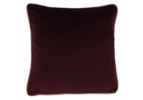 CLAUDI Design Kussen Saffi Aubergine + piping Gold