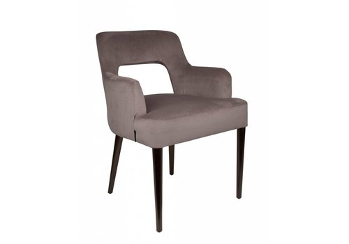 Dome Deco Dining chair black - Shell Taupe with arms