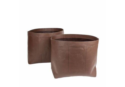 Dome Deco Large baskets 'Bull Split Leather' Brown- set of 2