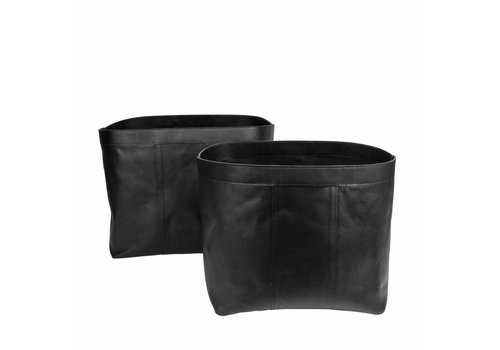 Dome Deco Large baskets 'Bull Split Leather' Black- set of 2