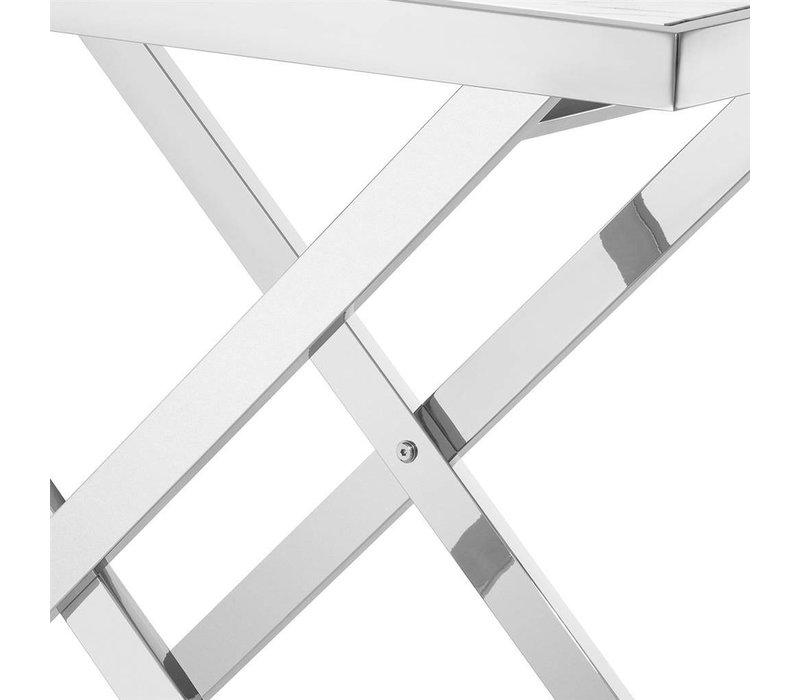 Designer Konsolentisch 'Omari' mit weißer Marmor-Tischplatte