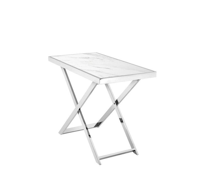 Design console tafel 'Omari' met wit marmeren tafelblad
