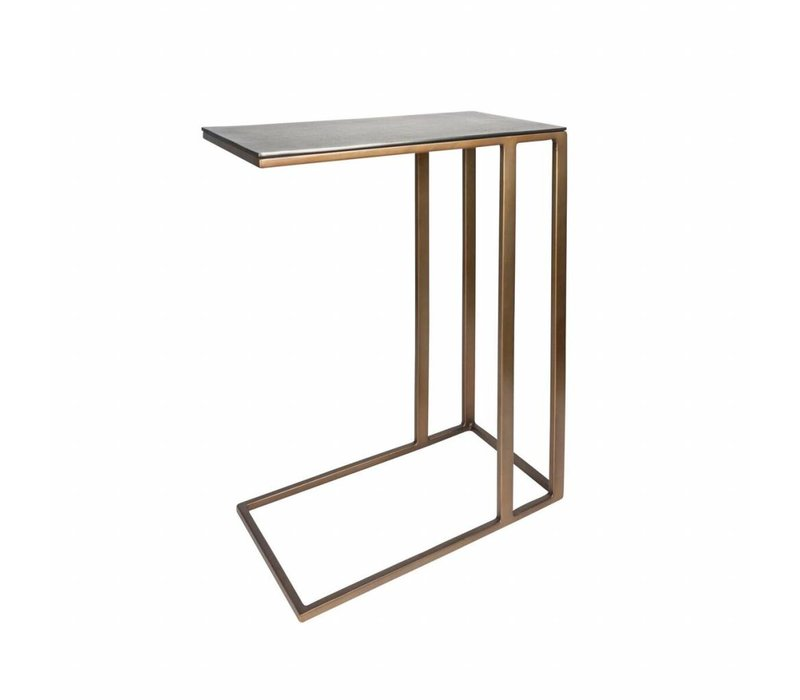Rectangular End table Gold Blue