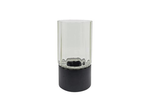 Dome Deco Tealight 'grey' glass with black wooden base - S