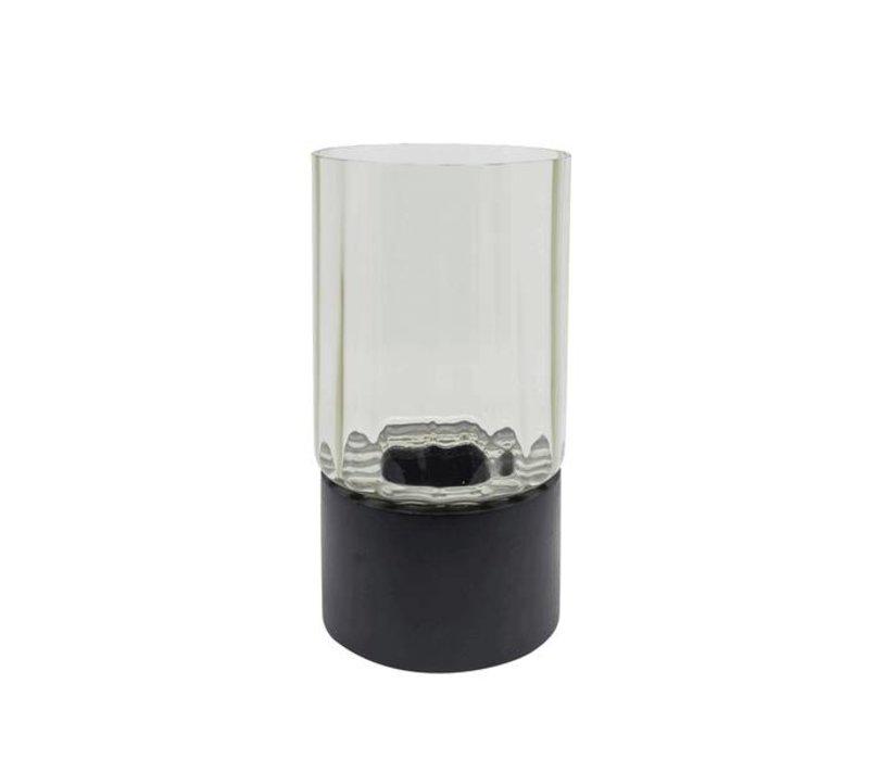 Theelicht grijs glas en zwart houten voet - S