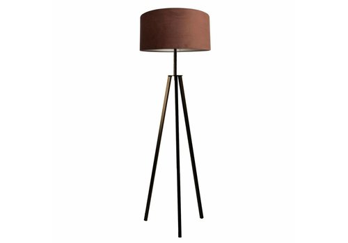 Dome Deco Floor lamp 'Fassani' with velvet shade 'Chocolate'