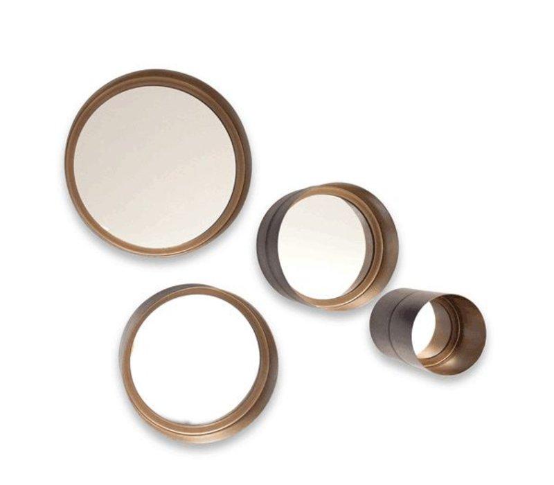 Ronde spiegel set van 4 stuks in de kleur brons