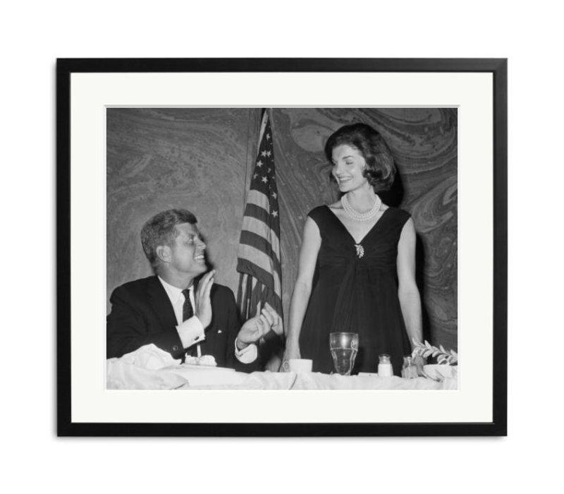 Schwarz Weiß Foto JF Kennedy und Jackie Kennedy