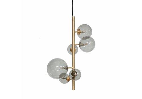 Dome Deco Hanglamp Pendant Metal Gold & Smoke Glass + Led