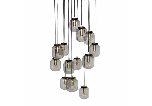 Dome Deco Hanging Lamp 'Pendant with 13 smoke glasses' Black