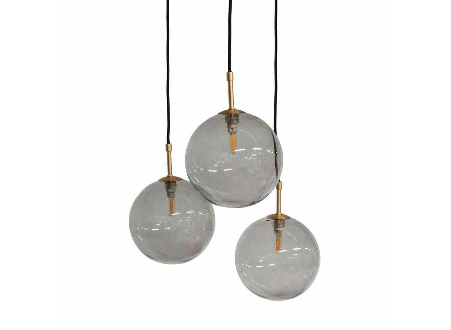 Hanglamp 'Pendant with 3 Smoke Glasses + Led'