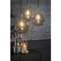 Hanglamp 'Pendant with 3 Smoke Glasses + Led'  H150 x D40 cm