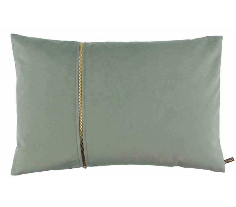 Cushion Rosana in color Celadon with gold zipper