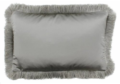 CLAUDI throw pillow Dafne Taupe Fringe Silver