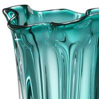 Vase Vagabond, 'handmade' turquoise glass