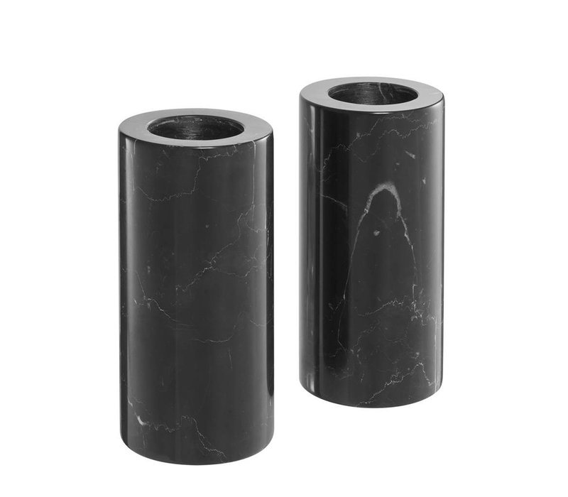 Tealight Holder Tobor L, zwart marmer (Set van 2)