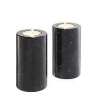 Tealight Holder Tobor M, zwart marmer (Set van 2)