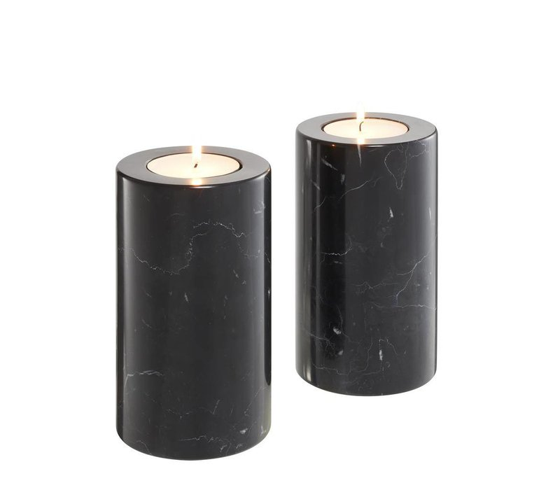 Tealight Holder Tobor M, black marble (Set of 2)