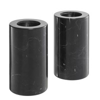 Tealight Holder Tobor M, black marble (2-er Set)