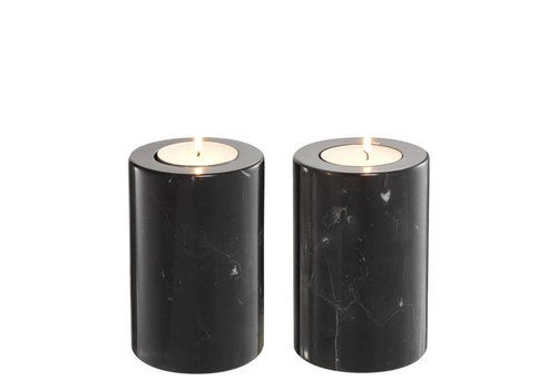 EICHHOLTZ Tealight Holder Tobor S - Black (Set of 2)